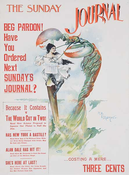 The Sunday Journal Woman with Lobster Original American Literary Poster