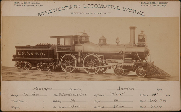 Schenectady Locomotive Works Original 19th Century Railroad Specification Card Photo, Passenger Locomotive American Type, LNO & T Railway