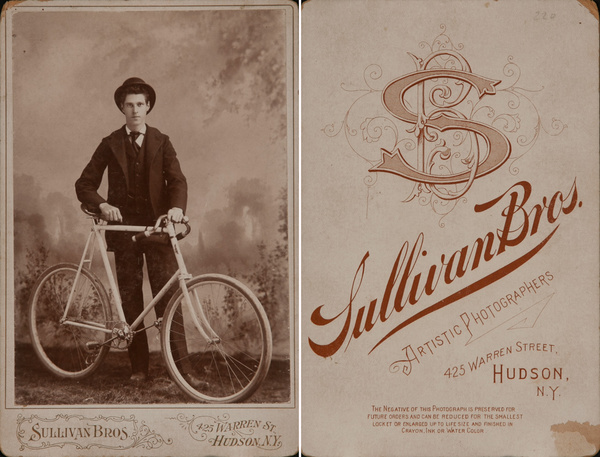Original New York Cabinet Card, Bicyclist