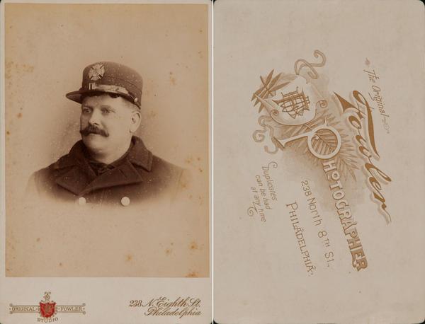 Original Philadelphia Fireman Cabinet Card,  Fowler Studio