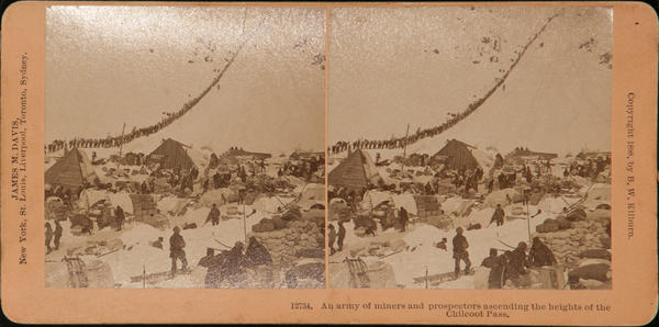 Original Kilburn Stereoview Alaska Klondike Gold Rush, An Army Of Miners and Prospectors ascending the Heights of the Chilcoot Pass