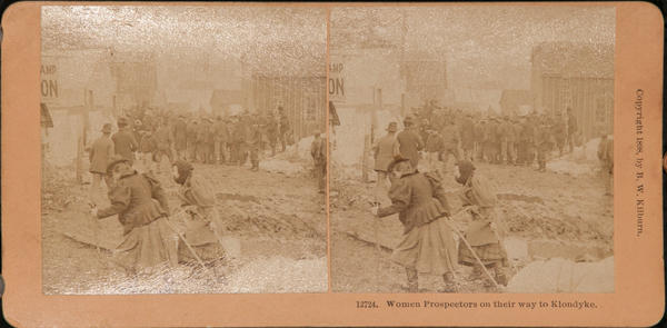 Original Kilburn Stereoview Alaska Klondike Gold Rush, Women Prospectors on Their Way to Klondyke