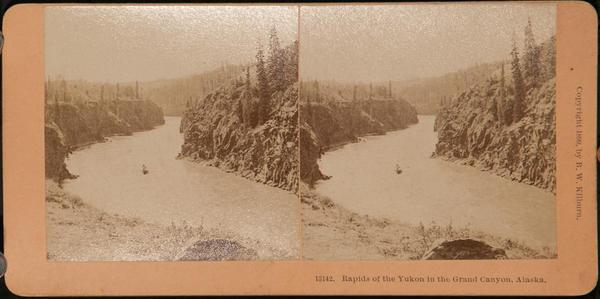 Original Kilburn Stereoview Alaska Klondike Gold Rush, Rapids of the Yukon in the Grand Canyon, Alaska
