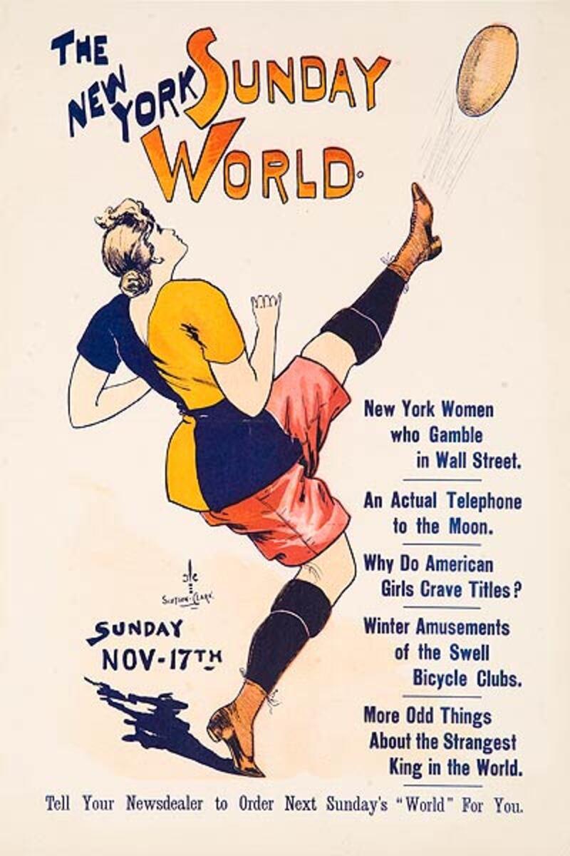 New York Sunday World Nov 17 Football  Original American Literary Poster