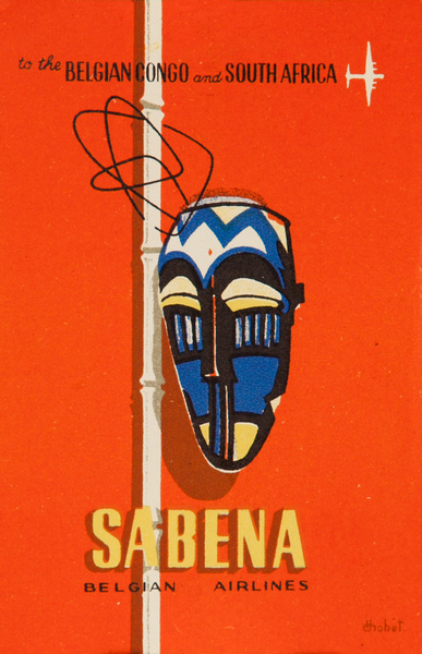 Sabena Belgian Air Lines Original Luggage Label, African Mask