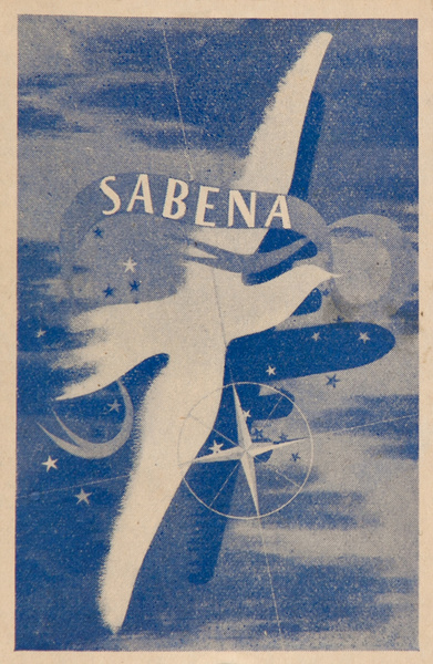 Sabena Belgian Air Lines Original Luggage Label, blue white bird