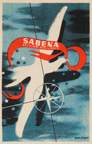 Sabena Belgian Air Lines Original Luggage Label, Bird