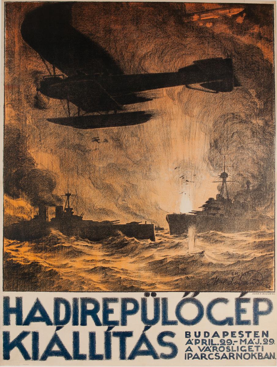 Hadirepülögép Kiállítás, Military Exposition Original Hungarian WWI Poster