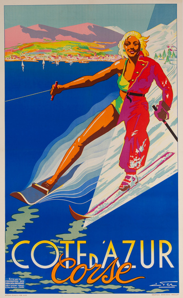 Corse, Cote d'Azur Original French Travel Poster, Winter Summer Snow Water Skier