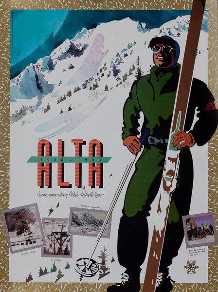 Alta 1938-1988, Original Utah American Ski Poster