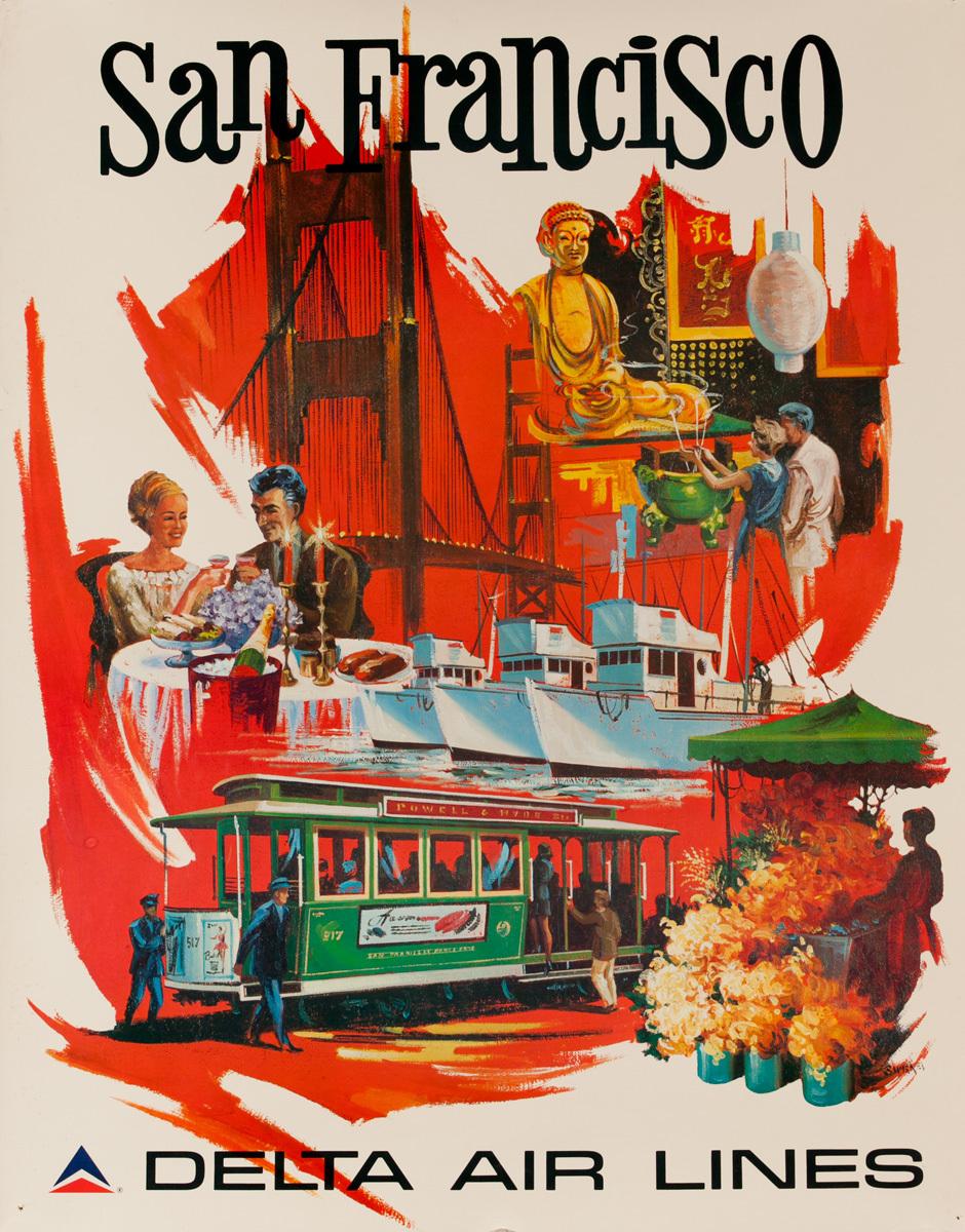 Delta Air lines Original Travel Poster San Francisco Icons