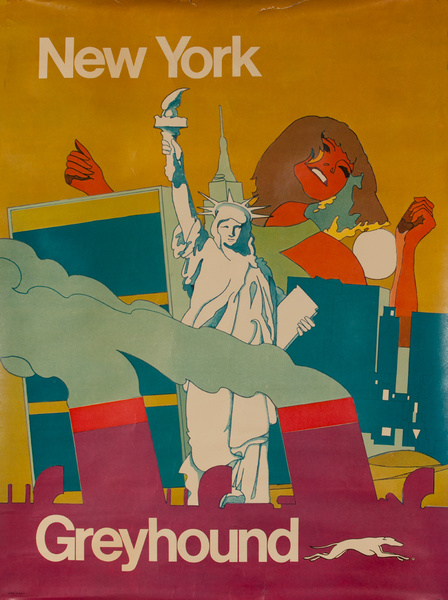 New York Greyhound Original Travel Poster Psychedelic Icons