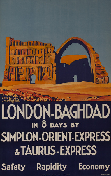 London-Baghdad Original Simplon-Orient-Express Rail Poster