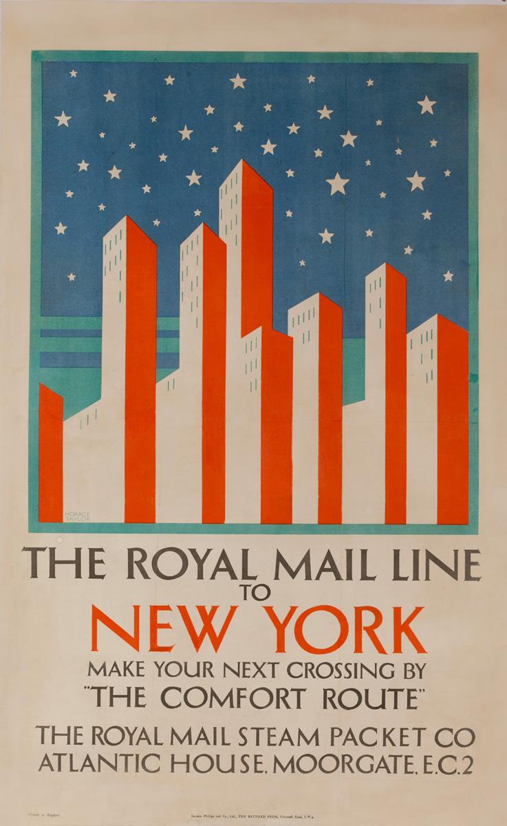 Royal Mail Line to New York, Original Art Deco Cruise Line Travel Poster