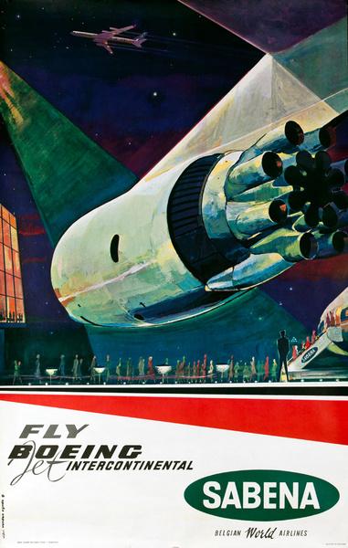 Sabena Fly Boeing Jet Intercontinental, Original Travel Poster