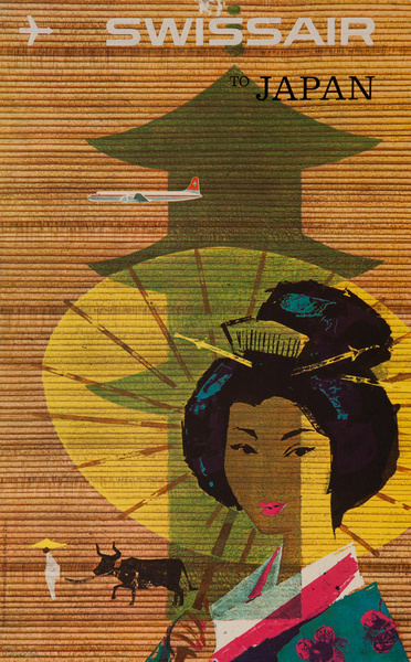 Swissair Original Travel Poster Card, Japan Geisha