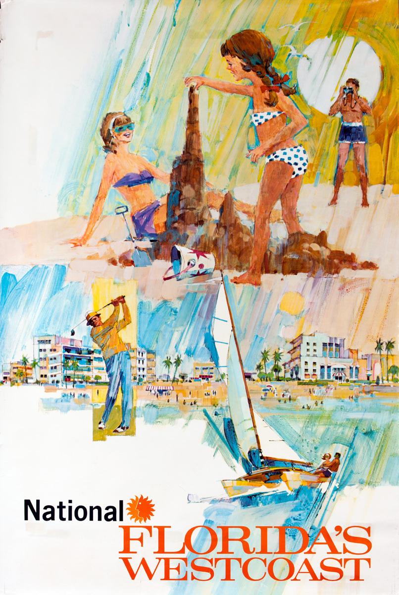 National Florida's West Coast Original Airline Travel Poster
