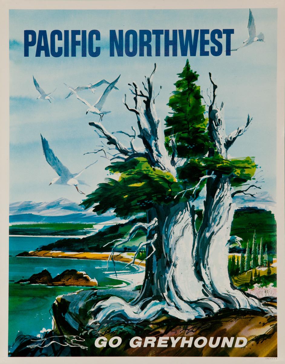 Greyhound Bus Lines Original Travel Poster Pacific Northwest