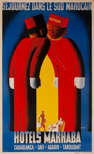 HOTELS MARHABA, Casablanca-Safi-Agadir-Taroudant, Original Moroccan Travel Poster