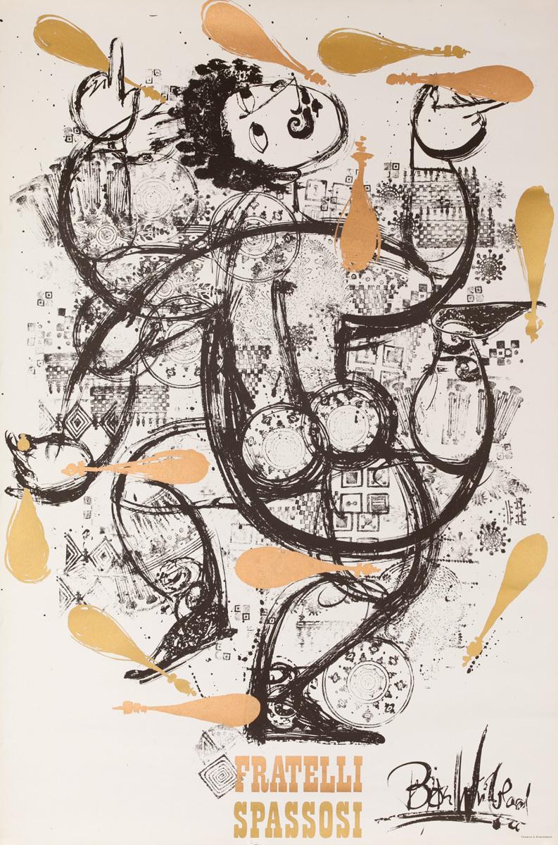 Fratelli Spasossi Juggler, Original Danish Poster, Gold Pins