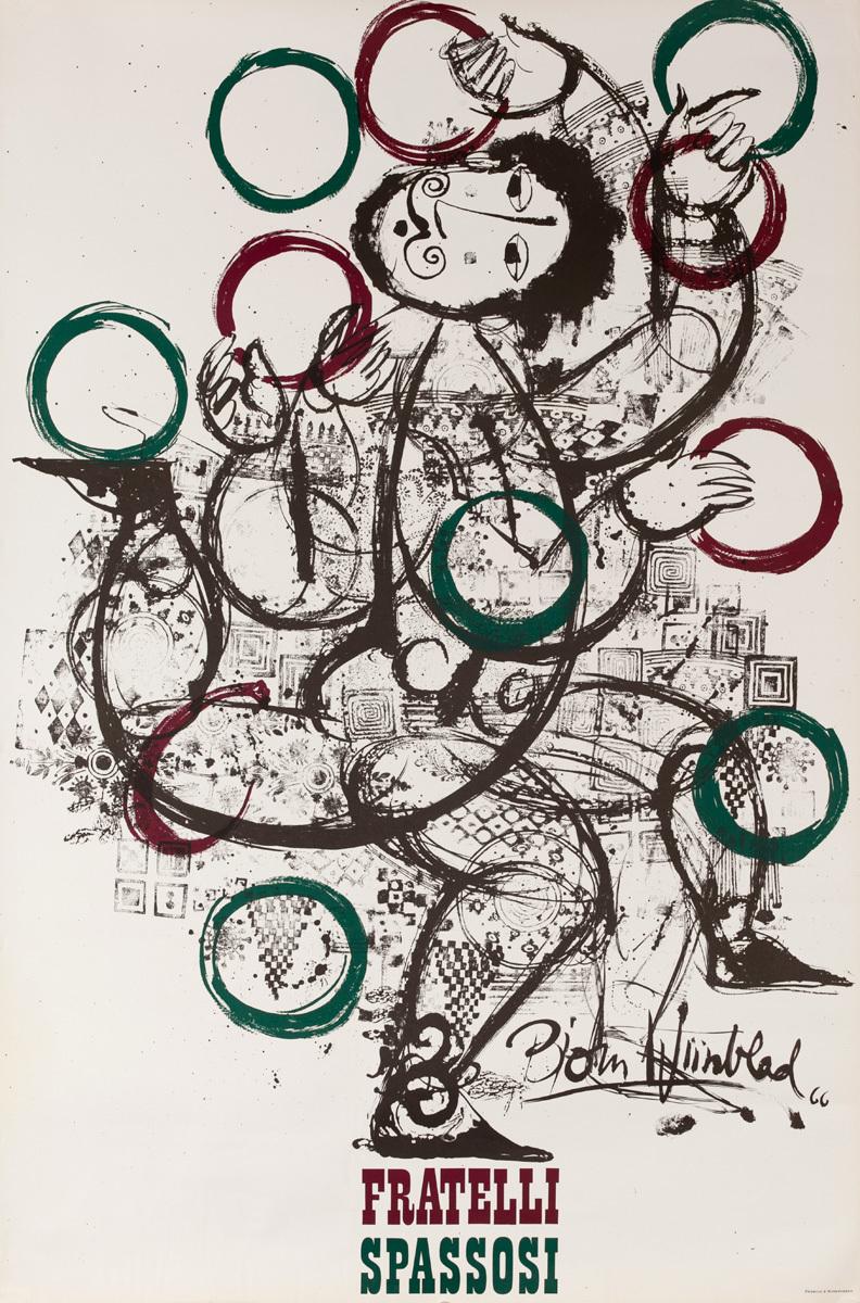 Fratelli Spasossi Juggler, Original Danish Poster, Red Green Rings