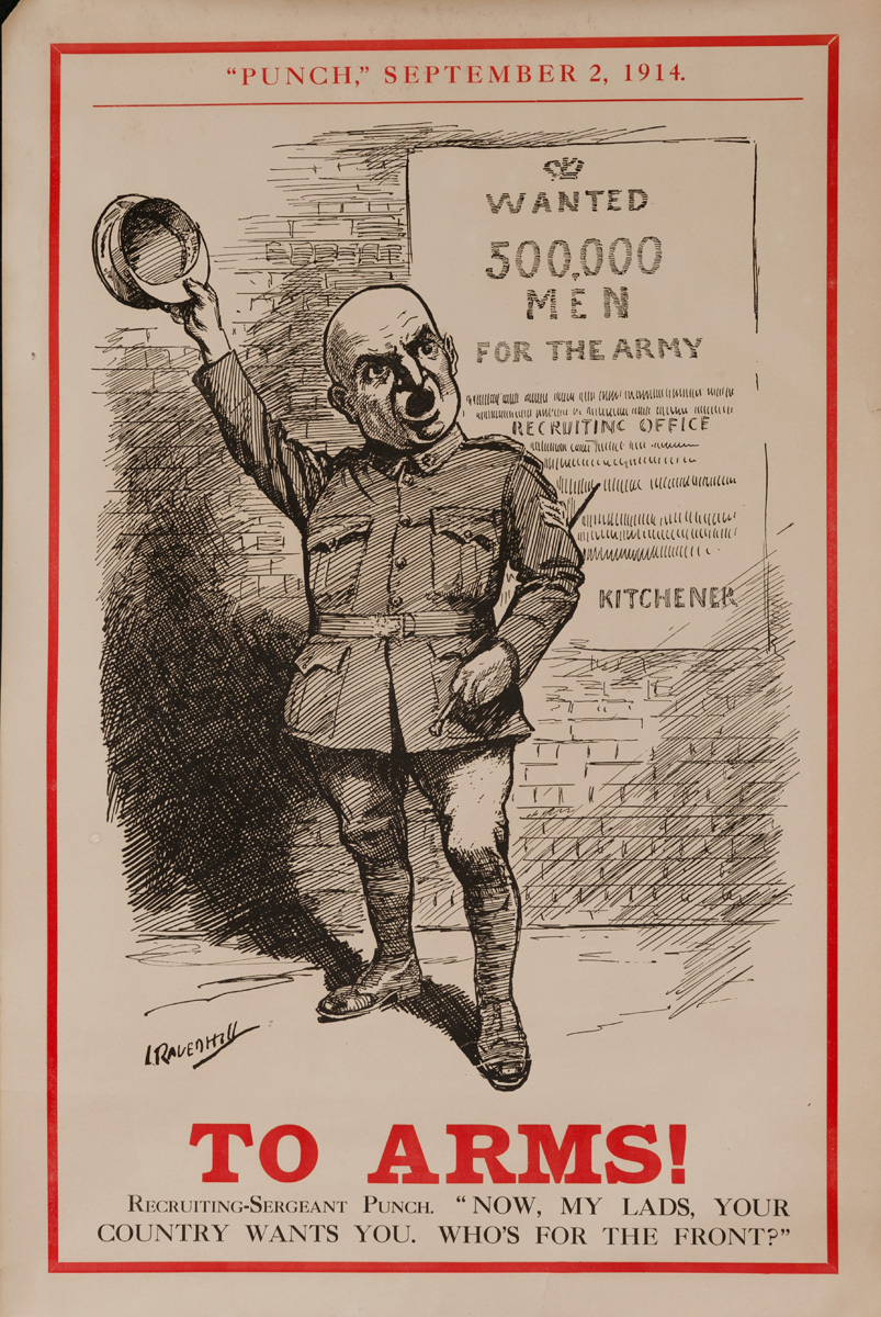 To Arms! Wanted 500,000 Men, Original British WWI Punch Poster