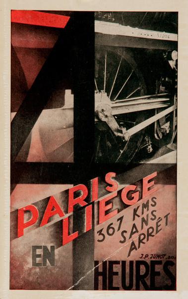 Paris Liege en 4 Heures Original French Chemin de Fer Travel Advertising Card