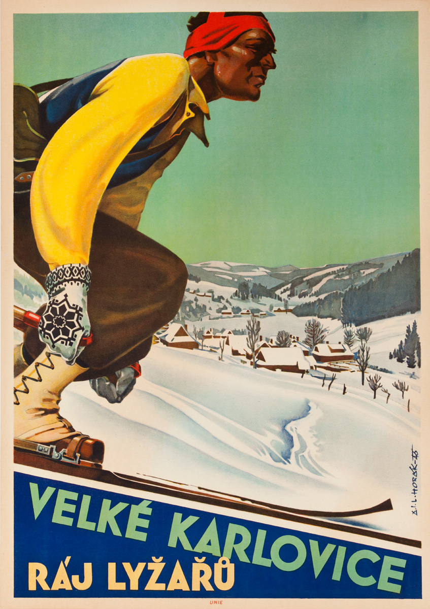 Karlovice a Paradise for Skiers Original Czech Ski Poster