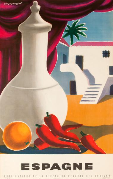 Espagna, Spain Original Vintage Travel Poster orange peppers