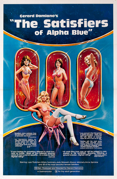Gerard Damiano's Athe Satisfiers of Alpha Blue, Original American X Rated Porno Movie Poster