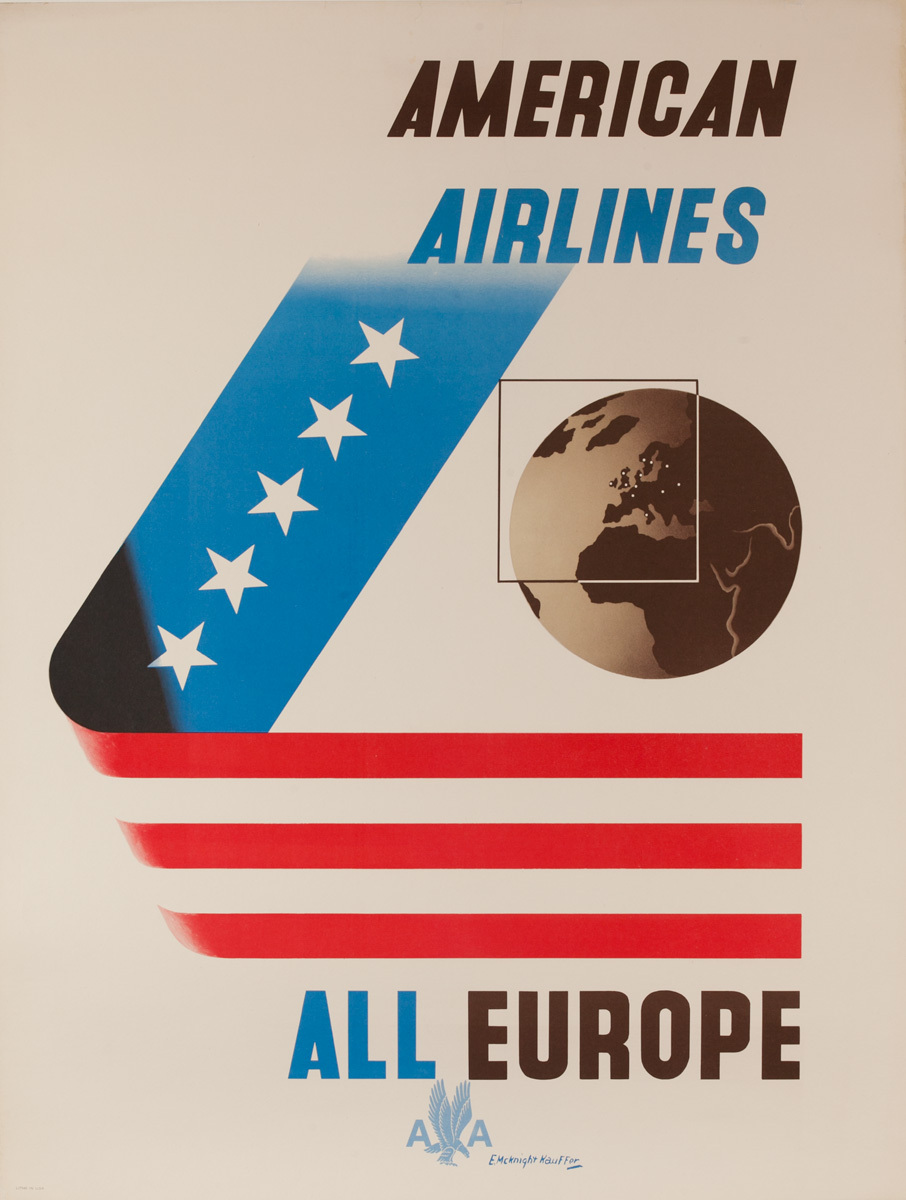 American Airlines All Europe Original Travel Poster
