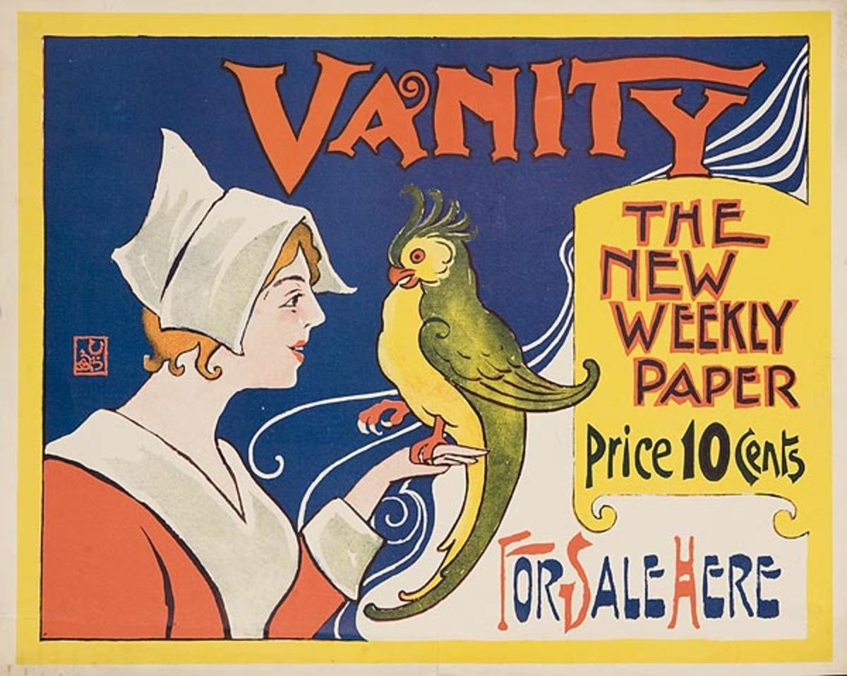 Vanity The New Weekly Paper Original American Literary Poster