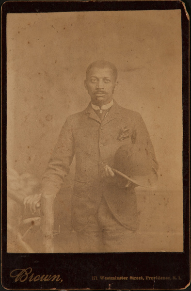 Cabinet Card Arfrican American Man With Bowler Hat, Brown Studio Providence Rhode Island