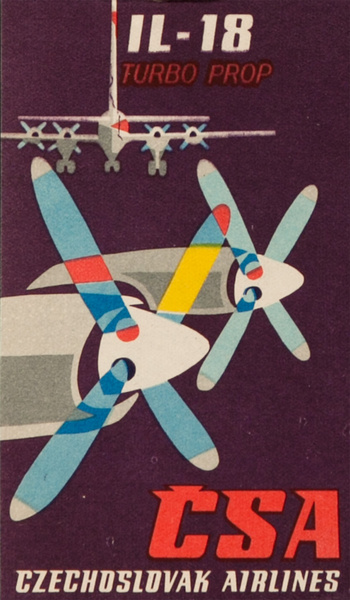 Chechoslovak Airlines CSA Il-18 Turbo Prop Original Luggage Label