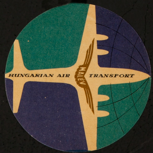 Malev Hungarian Air Transport, Original Luggage Label, round