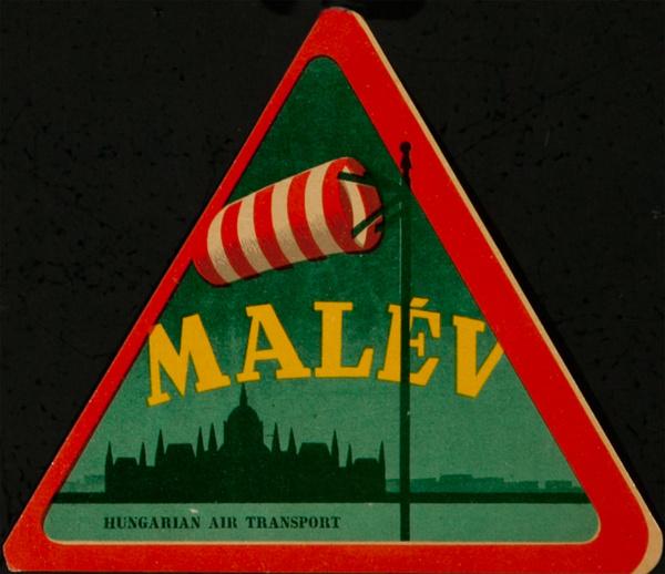 Malev Hungarian Air Transport Original Luggage Label Windsock