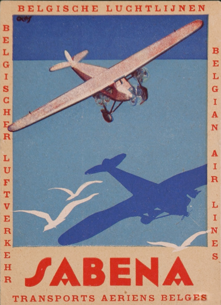 Sabena Transports Aeriens Belges, Original Art Deco Luggage Label