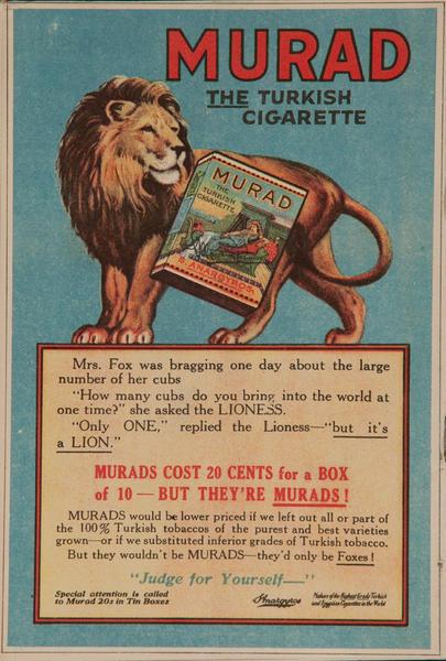 Murad Turkish Cigarette Advertisiment, Lion