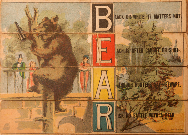 Original 19th Century Childs Spelling Puzzle, Bear