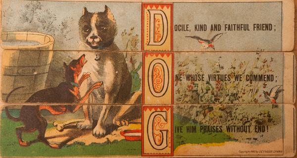 Original 19th Century Childs Spelling Puzzle, Dog