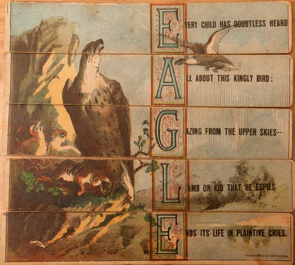 Original 19th Century Childs Spelling Puzzle, Eagle