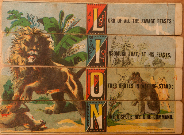 Original 19th Century Childs Spelling Puzzle, Lion