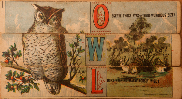 Original 19th Century Childs Spelling Puzzle, Owl
