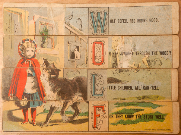 Original 19th Century Childs Spelling Puzzle, Wolf