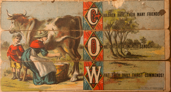 Original 19th Century Childs Spelling Puzzle, Cow