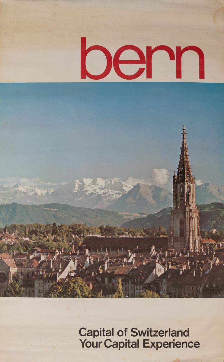 Capital of Switzerland Bern, Original Swiss Travel Poster