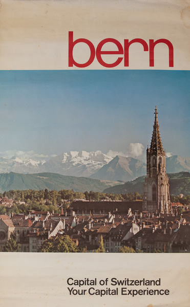 Capital of Switzerland Bern, Original Swiss Travel Poster