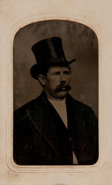 CDV Sized Tintype Man in Top Hat