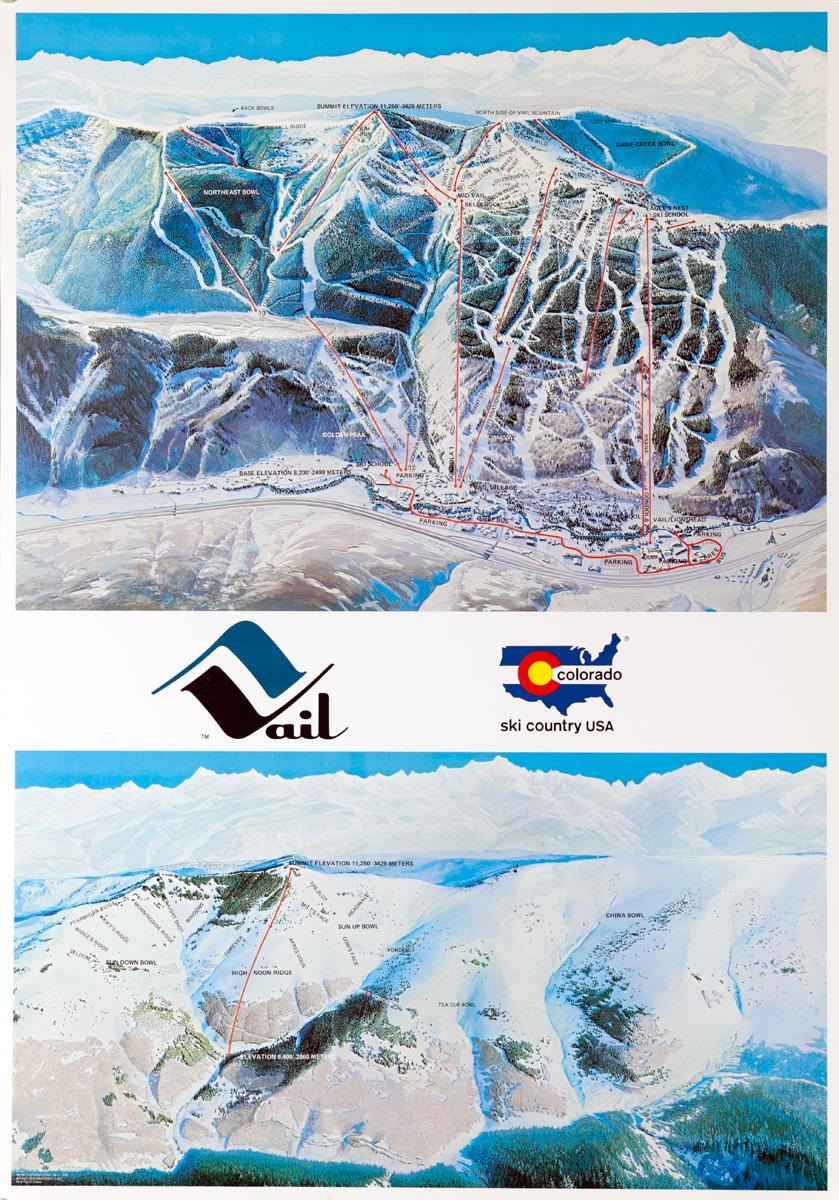 Original Vail Colorado Ski Trails Map Poster