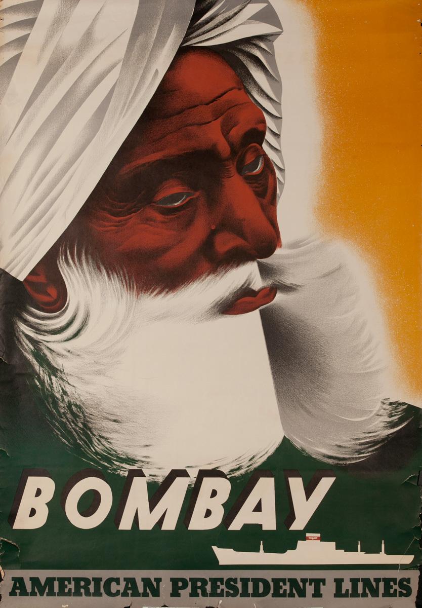 American President Lines Original Cruise Ship Poster Bombay